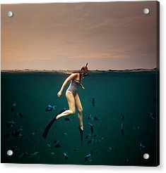 Girl Snorkelling Acrylic Print by Rjw