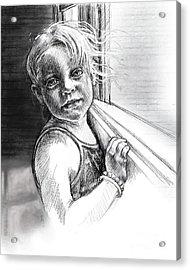 Girl With A Beaded Bracelet Acrylic Print