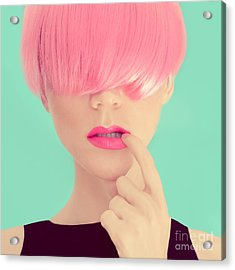 Girl With Pink Hair. Fashionable Trend Acrylic Print