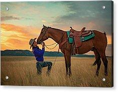 Girls And Horses Acrylic Print