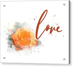 Girly Wall Art, Burnt Orange Rose Love Watercolor Acrylic Print