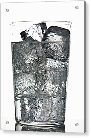 Glass Of Ice Cubes In Fizzy Drink Acrylic Print by Walter Zerla