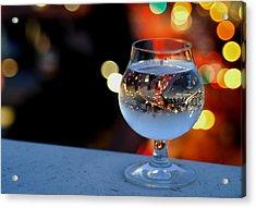 Glass Of Water Overlooking Vienna Acrylic Print