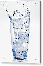 Glass Of Water Splashing Around Acrylic Print by Maria Toutoudaki
