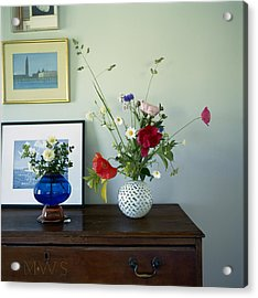 Glass Vases Of Rose Rosa And Acrylic Print