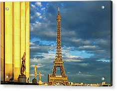 Golden Eiffel Tower Acrylic Print by Andrew Soundarajan
