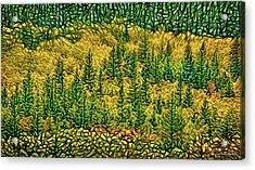 Acrylic Print featuring the digital art Golden Pine Forest by Joel Bruce Wallach