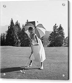 Golfing Hepburn Acrylic Print by Hulton Archive