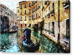 Gondola Traffic Near Piazza San Marco In Venice, Italy - Watercolor Effect Acrylic Print