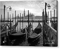 Gondolas In Venice, Black And White Acrylic Print