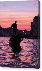 Gondolier At Sunset Acrylic Print
