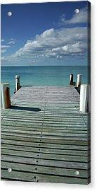 Grace Bay Wooden Pier On The Island Of Acrylic Print by Greg Newington