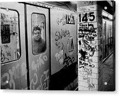 Graffiti Covers Platform And Subway At Acrylic Print