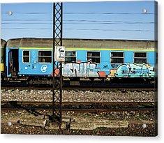 Graffitied Train Acrylic Print