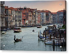 Acrylic Print featuring the photograph Grand Canal Gondolier Venice Italy Sunset by Nathan Bush
