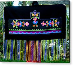 Acrylic Print featuring the tapestry - textile Grand Mothers Garden by Chholing Taha