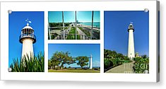 Grand Old Lighthouse Biloxi Ms Collage A1a Acrylic Print