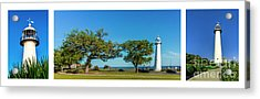 Grand Old Lighthouse Biloxi Ms Collage A1e Acrylic Print