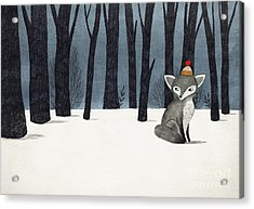 Gray Wolf Fox In A Winter Forest - Acrylic Print