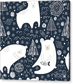Great Seamless Pattern With Cute Polar Acrylic Print