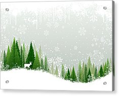 Green And White Winter Forest Grunge Acrylic Print