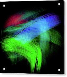Acrylic Print featuring the digital art Green Cat by Darryl Dalton