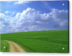 Green Field, Farm Track And Clouds Acrylic Print