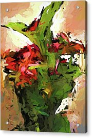 Green Leaves And The Red Flower Acrylic Print