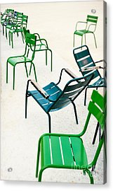 Green Metallic Chairs In The City Park Acrylic Print