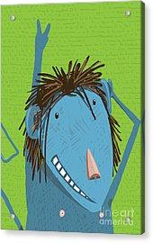 Greeting Card With Cute Monkey Acrylic Print by Popmarleo