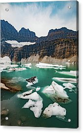 Acrylic Print featuring the photograph Grinnell Glacial Lake At Glacier National Park by Lon Dittrick