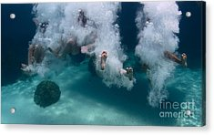 Group Of Friends Having Fun By Jumping Acrylic Print