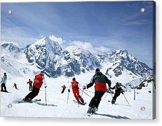 Group Of Skiers On The Slope, Ortler Acrylic Print