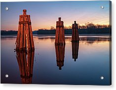 Group Of Three Docking Piles On Connecticut River Acrylic Print