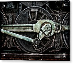 Grunge Old Steam Locomotive Wheel And Acrylic Print