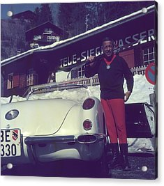 Gstaad Skier Acrylic Print by Slim Aarons