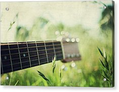 Guitar In Country Meadow Acrylic Print by Images By Victoria J Baxter