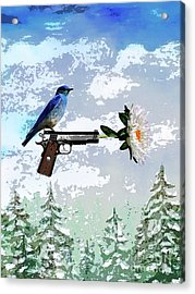 Bluebird Of Happiness- Flower In A Gun Acrylic Print