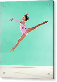 Gymnast,  Mid Air, Split, Pink Leotard Acrylic Print