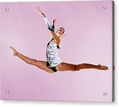 Gymnast, Split, Mid Air, Black And Acrylic Print by Emma Innocenti
