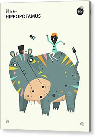 H Is For Hippopotamus 2 Acrylic Print