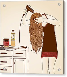 Hair Care Illustration No. 23 Colored Acrylic Print by Franzi
