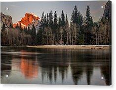 Half Dome Sunset In Winter Acrylic Print