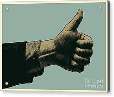 Halftone Thumbs Up Symbol. Engraved Acrylic Print