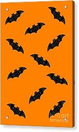 Acrylic Print featuring the mixed media Halloween Bats In Flight by Rachel Hannah