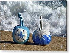 Acrylic Print featuring the photograph Halloween Blue And White Pumpkins On The Beach by Bill Swartwout Fine Art Photography