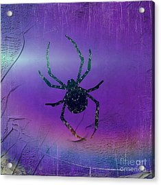 Acrylic Print featuring the mixed media Halloween Spider Dream by Rachel Hannah