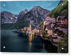 Hallstatt Village At Dusk, Austria Acrylic Print