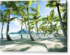 Hammock At Bora Bora, Tahiti Acrylic Print by Yusuke Okada/amanaimagesrf