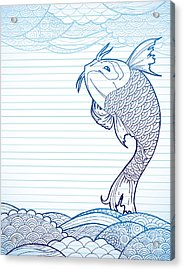 Hand Drawn Koi And Waves On Lined Paper Acrylic Print